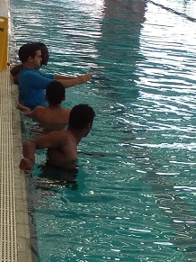 Students receiving instructions in diving